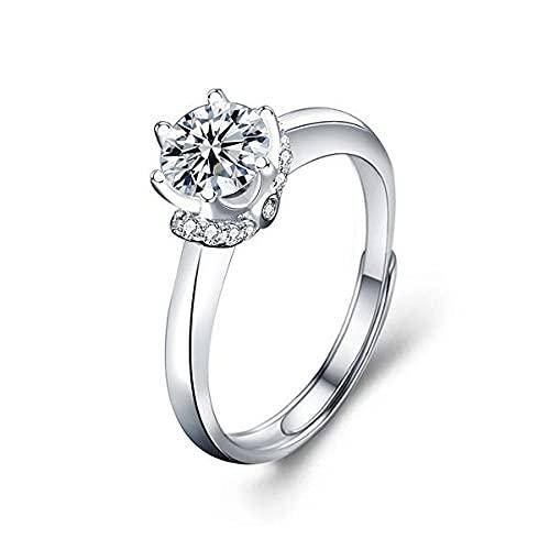 Anello da donna in argento Sterling 925 con 1 carato, moissanite a sei poli, anello alla moda, semplice con apertura regolabile.