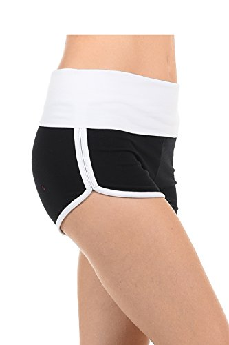Athletic Curves Trimming Hot Yoga Shorts: Workout Exercise Running Walking Track Dance Jogging Tight BLK/White M