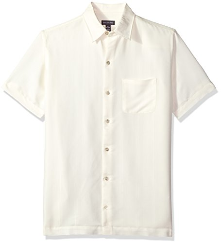 Van Heusen Men's Air Short Sleeve Button Down Poly Rayon Stripe Shirt, Cream Egret Legacy, Large