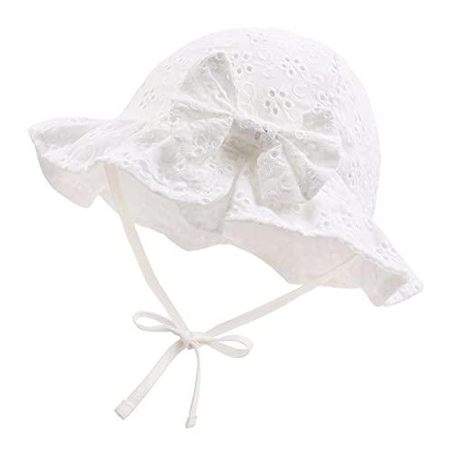 XIAOHAWANG Sommerhut Baby Mädchen UV Schutz Sonnenhut Mütze Baby Sommer Mützen Baumwolle Mit Schleife und Bindebändern