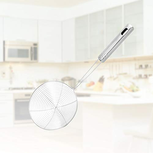 UPKOCH Spider Strainer Wire Skimmer Mesh Stainless Steel Handle Skimmer Spoon Ladle for Noodle Pasta Spaetzle Chips Spaghetti (Silver) 19cm