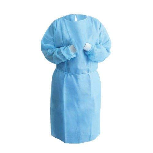 Pack of 10 Blue Lab Coats. Unisex Disposable Polypropylene Labcoat.Large Size. Hook and Loop Fastener, Collar, Elastic Wrists, No Pockets. Protective Visitor Coat. Coated Laboratory Coats.
