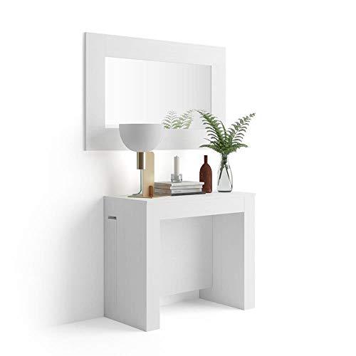 Mobili Fiver, Mesa Consola Extensible con Porta-Extensiones, Easy, Color Fresno Blanco, Aglomerado y Melamina/Aluminio, Made in Italy