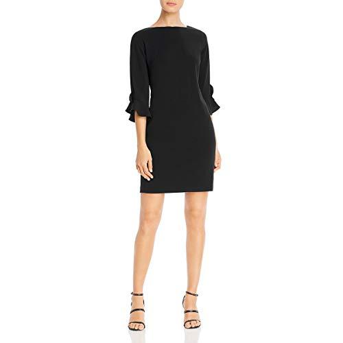 Karl Lagerfeld Paris Women's Tulip Sleeve Crepe Dress, Dark Black, 10