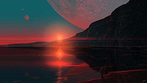 Rompecabezas de 1000 Piezas Planet Sunset Rompecabezas de Papel clásico Rompecabezas difícil para Adultos Adolescentes DIY Rompecabezas Educativo Intelectual Juguete de Regalo 38X26Cm