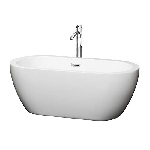 Wyndham Collection Soho 60 inch Freestanding Bathtub in White with Floor Mounted Faucet, Drain and Overflow Trim in Polished Chrome