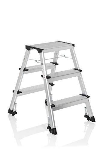 hjh OFFICE 830009 escalera plegable SOLID IV aluminio 3 peldaños escalera rodante con ruedas accesible de ambos lados