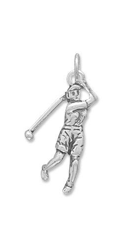 - GOLF GOLFEN Golfer GOLFSPIELER GOLFBALL-Anhänger, Sterling-Silber, Maße: 23 x 10 mm-JewelryWeb