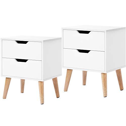 ZOEON Nachttische 2 Set Weiß - Kleine Kommode mit 2 Schubladen - Nachtschrank Holz für Schlafzimmer, Wohnzimmer