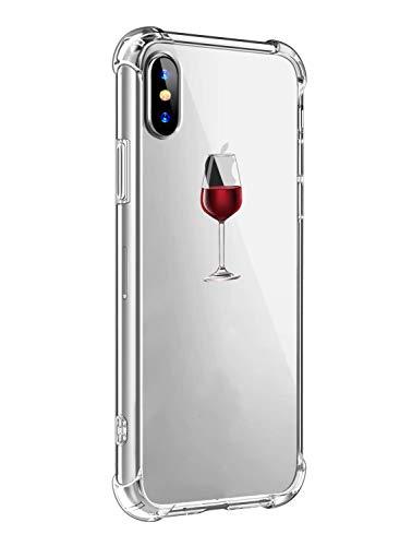 Alsoar Funda Compatible para iPhone XR Ultra Delgada Ligera Transparente Silicona TPU Gel Suave Carcasa Elegante Patrón Lindo Bumper Anti-Rasguño Protector Caso Case (Copa de Vino Tinto)