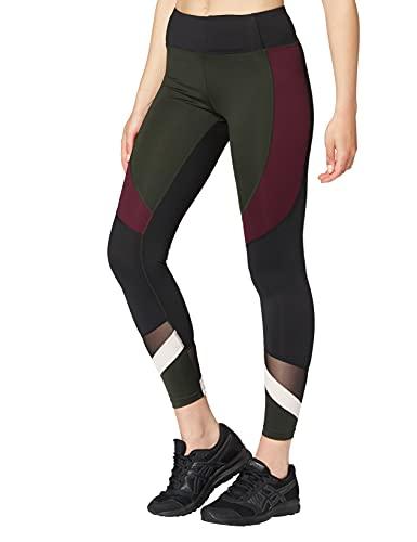 Marque Amazon - AURIQUE Legging de Sport Bicolore Taille Haute Femme, Vert (Peat), 38, Label:S