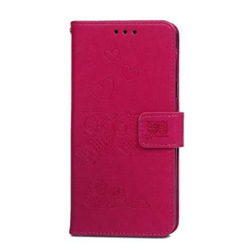 Samsung Galaxy A7 2018 hoesje, premium PU lederen schok-absorptie notitieboekje portemonnee hoesje reliëf uil met Kickstand functie kaartsleuf en magnetische sluiting Slim Flip beschermende huidhoes roosrood