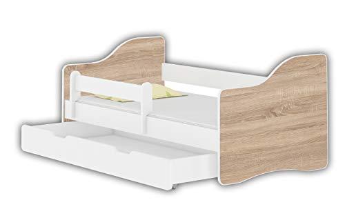 Jugendbett Kinderbett mit einer Schublade mit Rausfallschutz und Matratze Weiß ACMA HAPPY 140x70 160x80 180x80 (Eiche Sonoma, 160x80 cm + Schublade)