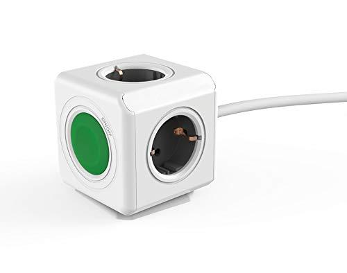 Regleta Multi-Cubo Switch Extended, ladrón con 4 enchufes no superpuestos con Interruptor Central, con Cable alargador Integrado de 1,5m, Estilo Schuko de 230 V, Verde/Gris/Blanco