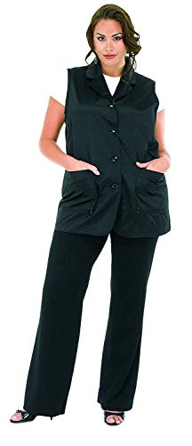 A Size Above Plus Size Vented Mesh Back Salon Stylist Vest, Cut for Curves, Stretch Mesh Back, Lower Pockets with Zippered Bottoms, Lightweight, Water Resistant Nylon/Poly, Black, 1X