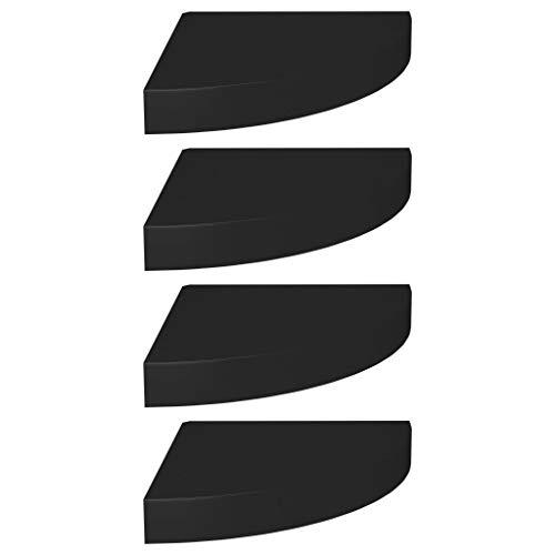 Ausla - Estantería esquinera flotante con sistema de montaje invisible para altavoces, libros, decoración y salón, color negro, 25 x 25 x 3,8 cm