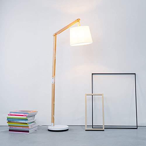 Moderna lámpara de pie de madera con pantalla textil, 1x E27 máx.60 W, metal / madera / textil, luz de madera / blanca