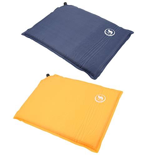 B Baosity 2Pcs Outdoors Self-Inflating Stadium Seat Cushion Waterproof Garden Seat Pad with Carry Bag - Blue+Yellow