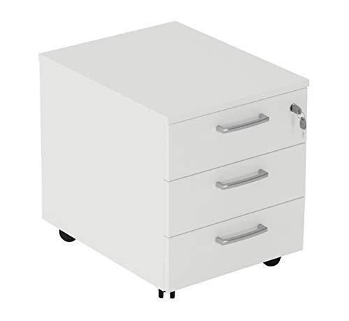 Cassettiera da Ufficio con Rotelle e Tre Cassetti - Montaggio Facile (Bianco, L 42 x P 56 x H 51 cm)