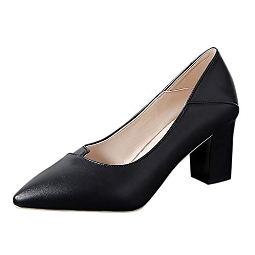 MRULIC Damen Basic Business Schuhe Spitzenschuhe Einzelne Schuhe Blockabsatz Mit formeller Arbeitskleidung(Schwarz,34 EU)