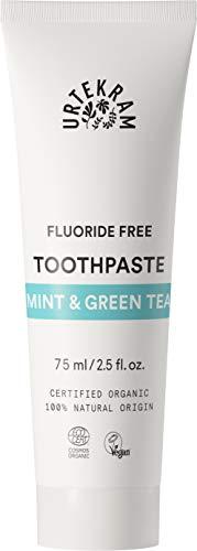 Urtekram Minze und Grüner Tee Zahnpasta Bio, ohne Flour, 2er Pack (2 x 75 ml)