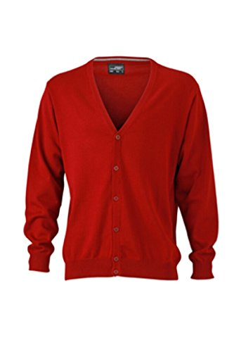 James & Nicholson Classico Cardigan in Cotone (M, Bordeaux)