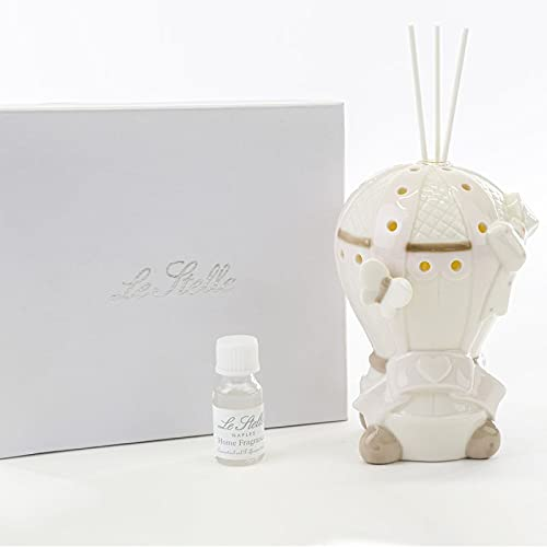 Ingrosso e Risparmio Globo aerostático perfumador de cerámica blanca y rosa con luz LED, ideas originales para bautizo de niña, con caja de regalo (con caja naranja)