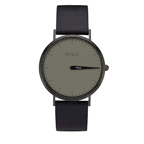 Pole Watches Damen Quarz Analoge Einzeigeruhr in Grau und Lederband in Schwarz Modell Maren N-1003GR-NE07