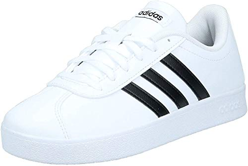 Adidas VL Court 2.0 K, Zapatillas de Deporte Unisex Adulto, Blanco (Footwear White/Core Black/Footwear White 0), 38 2/3 EU
