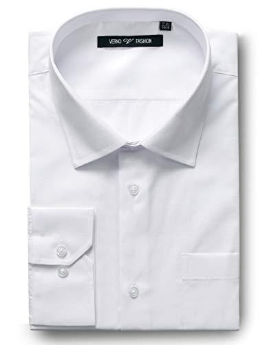 Luxton Verno MensFashion(Regular) Fit Long Sleeve Dress Shirt, 14-14 1/2'Neck-32/33'Sleeve, White