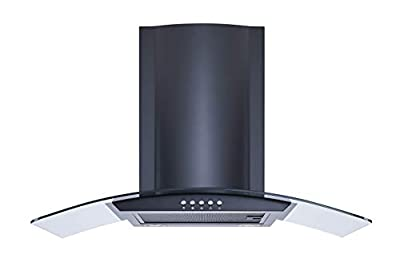 Winflo 30 In. Convertible Wall Mount Range Hood in Black with Mesh Filters and Push Button Control