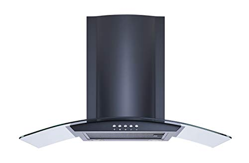 """Winflo New 30"""" Convertible Wall Mount Range Hood in Black with Black Aluminum Mesh filter, Ultra bright LED lights and Push Button 3 Speed Control"""