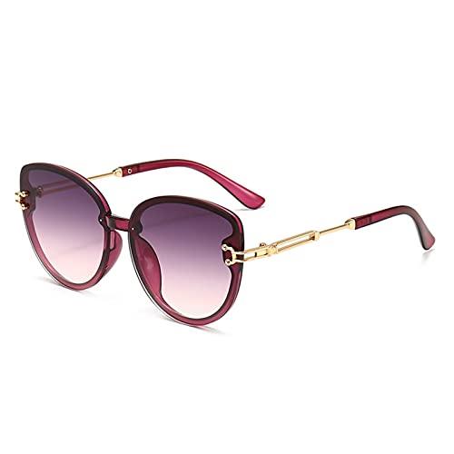 Gafas de Sol, Gafas de Sol de Las señoras de la Moda, Gafas de Sol de Ojo Grande de Marco, Gafas de Sol Anti-Ultravioleta, Bolsa de Gafas Gratis (Size : Purple Frame Transparent Purple)