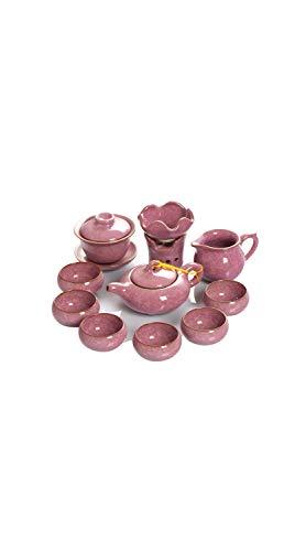 TYZP Ice Crack Glaze - Juego de teteras de cerámica para el hogar, 6 Tazas, Color Rosa