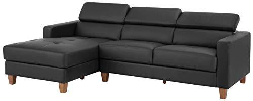 Loft24 A/S 3-Sitzer Sofa L-Form Couch Ecksofa Polsterecke mit Recamiere Kunstleder Recamiere Links grau