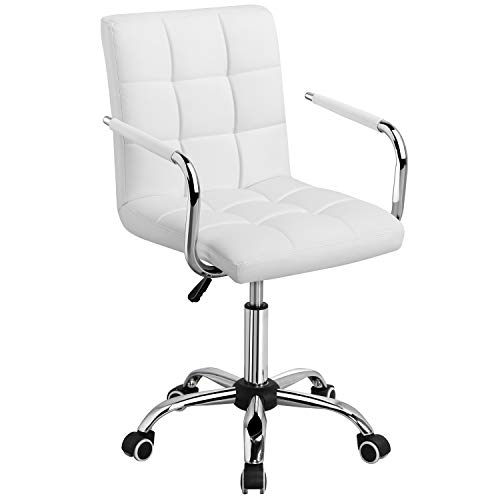 Yaheetech White Desk Chairs with Wheels/Armrests Modern PU...