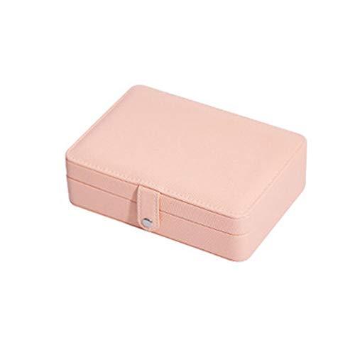 NFRADFM Joyero, caja de joyería de cuero de la PU, portátil, pendientes, anillo, caja de almacenamiento, caja de almacenamiento de joyería multifunción