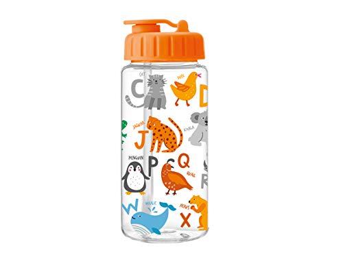 i-Drink ID2109 Botella Tritan 400 ML Diseños Infantiles. Botella con Pajita. (Alphabet)
