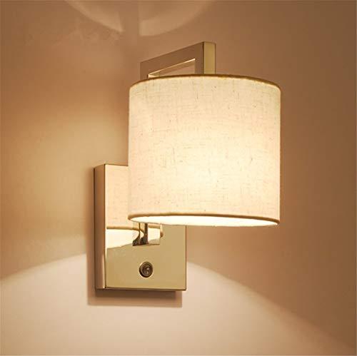 LSNLNN Lámparas de Pared, Lámpara de Pared con Interruptor, Lámparas de Pared de Acero Inoxidable Cromado Pulido, con Pantalla Cilíndrica de Tela Blanca Beige, Aplique de Pared de Noche de Hot