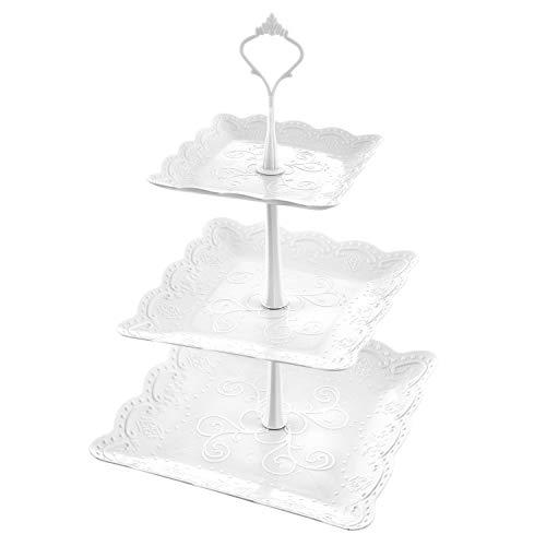 Wolintek Etagere 3 Etagen Teller Weiß Tortenständer Kuchenständer, Cupcake Ständer Gebäck Muffin Obst Halter für Party, Geburtstag, Hochzeit, Weihnachten (B)