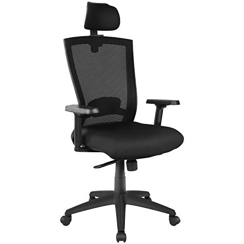 Ergonomic Home Office Desk Chair, Mesh Computer Gaming Chair High-Back Reclined and Lockable Swivel Executive Task Chair with Adjustable Headrest, Armrest, and Lumbar Support, Black