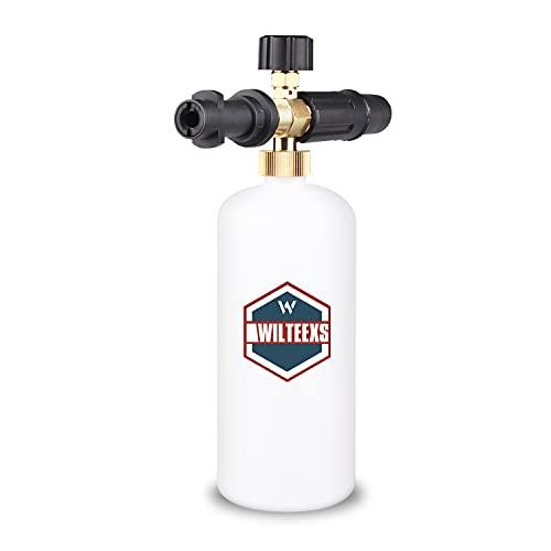 WILTEEXS Adjustable Foam Cannon for Karcher Pressure Washer K Series K2 K3 K4 K5 K6 K7, 1 Liter Bottle Snow Foam Lance Soap Dispenser with nozzle for Car cleaning, Solid Brass