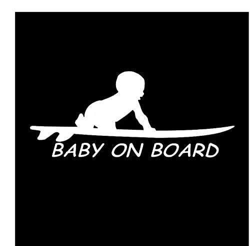 MDGCYDR Pegatinas Personalizadas Coche 15,3 * 6,4 Cm Bebé A Bordo Surf Surf Tabla De Surf Coche Camión Ventana Pegatinas De Vinilo Divertidas