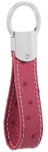 Llavero de cuero DPOB de piel italiana, diseño simple, hecho de piel de alta calidad duradera, rosa roja (Rojo) - YSK-C0829