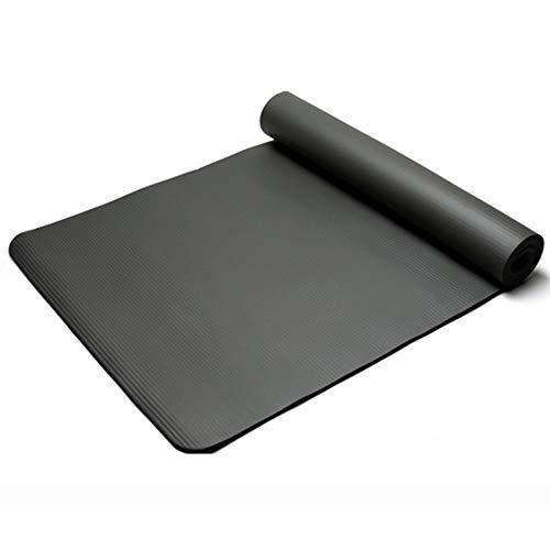 VIWIV Yoga-Matte, Umweltfreundliche Multifunktions-Nbr10mm Dicke Fitness-Matte, Geeignet Für Anfänger Indoor-Sport Flat Support Pad,Schwarz