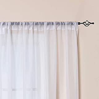 White Sheer Curtains for Living Room Window Curtian Drapes 84 Inch Length Rod Pocket Top Window Treatment Set Curtains for Bedroom Voile Drapes 2 Panels
