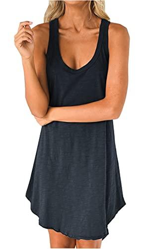 Damen Sexy Sommerkleider Ärmellos Tank Top Minikleid Rundhals Loose Strandkleid Casual Oversize Einfarbig Kleid