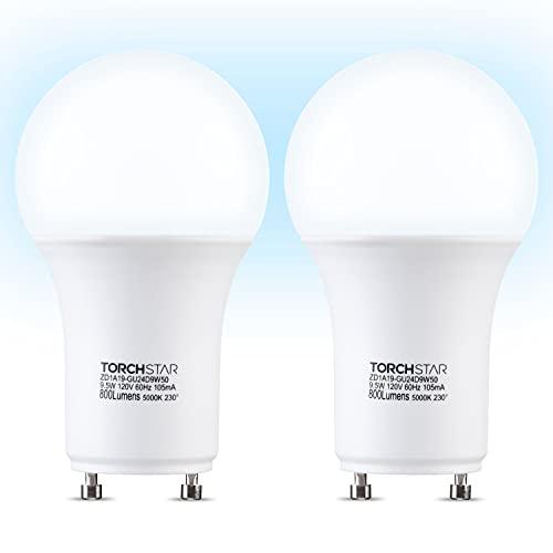 TORCHSTAR Dimmable GU24 Base Light Bulb, Daylight 5000K LED Bulb...