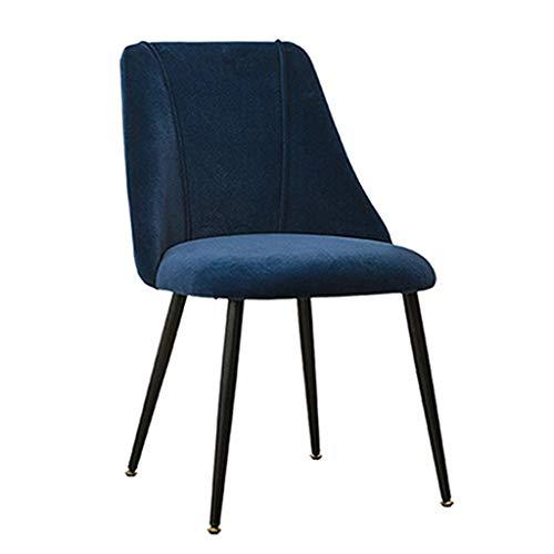 Set di sedie da pranzo vintage in velluto da cucina, con gambe in metallo, per salotto, tempo libero, soggiorni, sedie angolari (colore: blu)