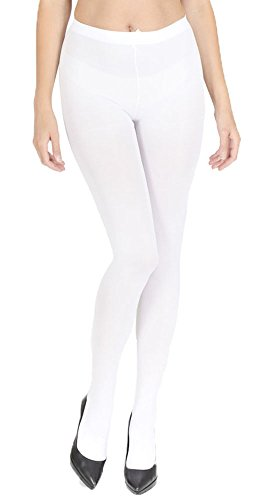 Women's Wardrobe 100 Denier Thick Opaque Tights Amazing Quality White Larg
